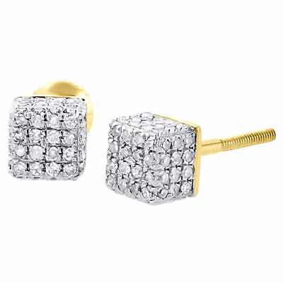 2 Ct 10K Yellow Gold Over Mens Diamond Cube 3D Square Earrings Round Pave Studs.
