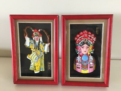 Fenyatang Chinese Opera Characters In Wooden Frames / Shadow Boxes
