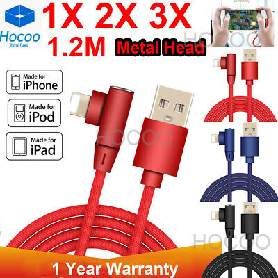 F iPhone 6 7 8 Plus XR X Braided 90 Degree Lightning Cable USB Data Charger Cord