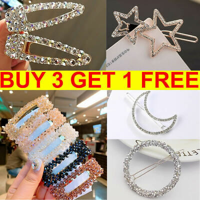 Women Girls Crystal Hair Clip Diamond Geometric Hairpin Barrette Slide Grips