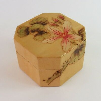 Vintage Chinese Lacquered Wooden Hand Painted Trinket Jewellery Ring Box, Floral