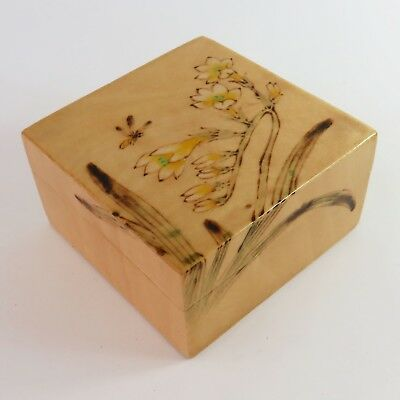 Vintage Chinese Lacquered Hand Painted Wooden Trinket Ring Jewellery Box, Floral