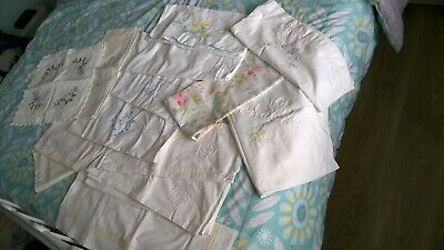 Job Lot 13 Vintage assorted pillowcases & Cushion cover