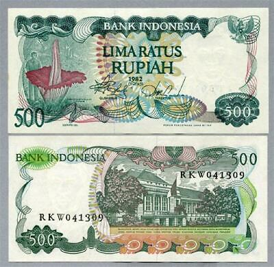 "Indonesia 1982 ""Giant Flower"" 500 Rupiah Banknote scarce UNC - #BN565 NTO5 33"