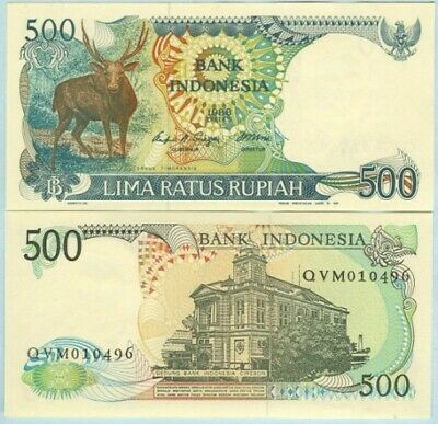 "Indonesia 1988 500 Rupiah Banknote ""Deer"" harder to find UNC - #BN568 NTO25 33"