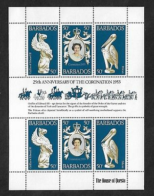 1978 25th ANNIVERSARY CORONATION of QEII, Barbados, mint mini sheet, MNH MUH
