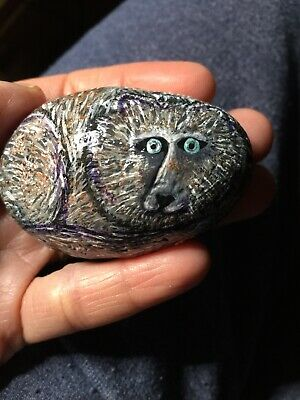 WOLF hand painted river rock stone art DOG CANINE WEREWOLF Original OOAK PUP