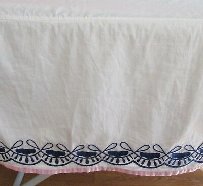 Pottery Barn Kids Crib Bed Dust Skirt Organic Cotton Blue Embroidered Pink Trim