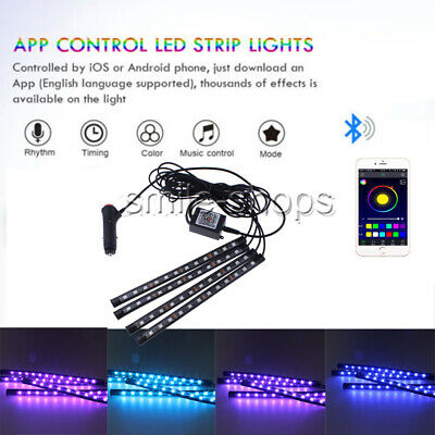 12 LED Strips 16 Color APP Control Car Interior Floor Footwell Atmosphere Light