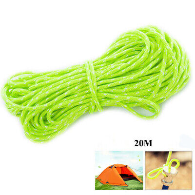 65FT 2MM Reflective Camping Canopy Tarp Tent Rope Cord Paracord Lanyard Line