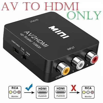For PS2 PS3 SKY HDTV 1080P Mini RCA Composite CVBS AV to HDMI Converter Adapter