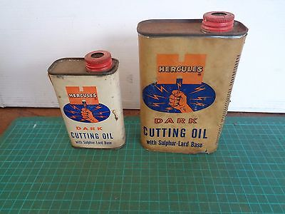 Vintage HERCULES DARK CUTTING OIL container x 2 sizes