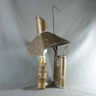 French Antique Copper Electrified Spirit Lamp Candle Wall Sconce Light