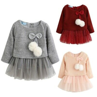 Toddler Baby Girls Long Sleeve Warm Knitted Party Tulle Tutu Skirt Dress 4-24M