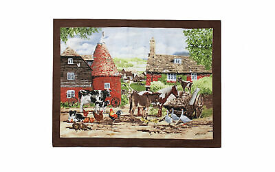 Antique Landscape Country Life Farm Scene Framed With Convex Glass Other Antique Decorative Arts