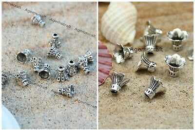 Crafted silver tone alloy Cone Trumpet Flower Bead Caps 6x6mm or 9x11mm