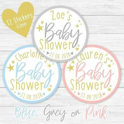 Personalised Baby Shower Stickers Round Labels Thank You Favour Gold Stars Party