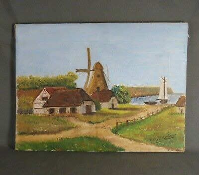 French Oil Painting on Canvas Landscape Mill in France signed d'ARCHAMBEAU 1931