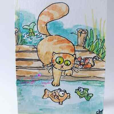 ACEO cat ORIGINAL painting orange tabby fish dock funny FREE shipping(not print)