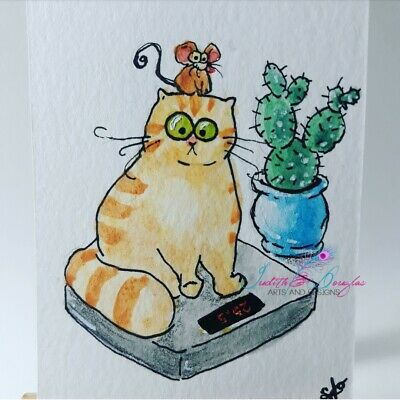 ACEO cat ORIGINAL painting orange tabby scale  funny FREE shipping(not print)