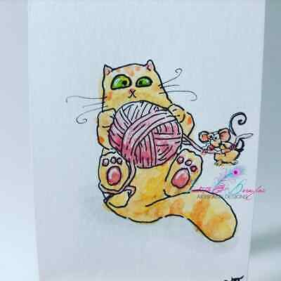 ACEO cat ORIGINAL painting orange tabby yarn funny FREE shipping(not print)