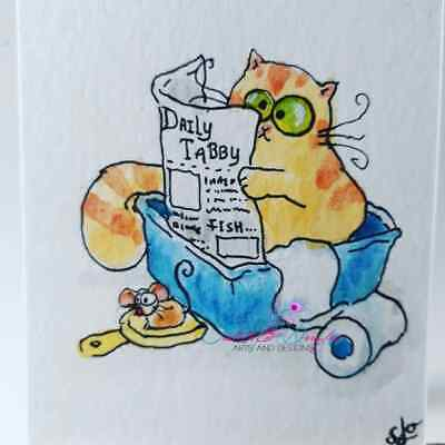 ACEO cat ORIGINAL painting orange tabby funny whimsical FREE shipping(not print)