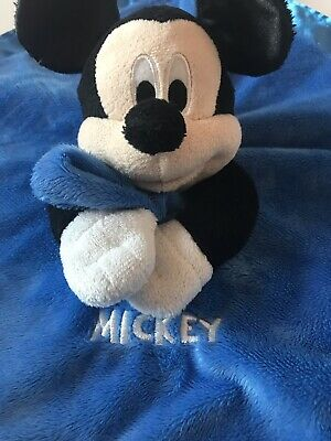 Disney Baby MICKEY MOUSE Blanket Blue Lovey Security Rattle Snuggle Gift EUC
