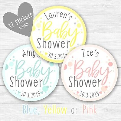 Personalised Baby Shower Stickers Round Labels Thank You Favour Party Polka Dot