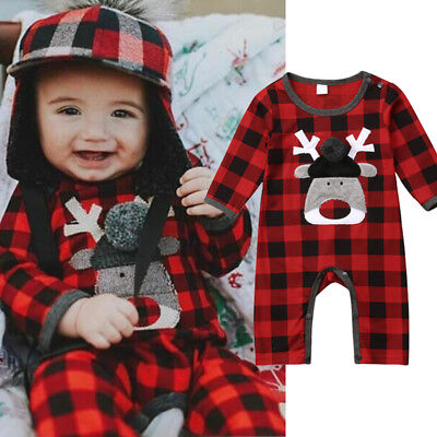 Baby Girl Boy Clothes Deer Romper Jumpsuit Red&Black Plaids One Piece Bodysuit