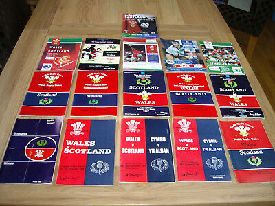 Wales v Scotland International Rugby Union March Programmes 1970s - 1990s