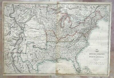 NORTH AMERICA EASTERN & CENTRAL 1863 by T. ETTLING LARGE DETAILED ANTIQUE MAP