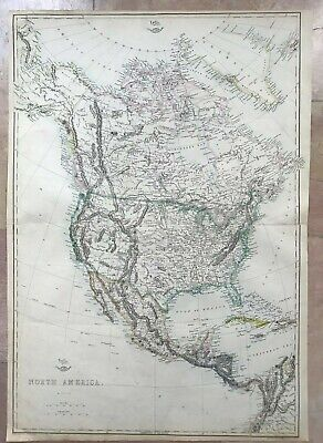NORTH & CENTRAL  AMERICA 1863 by T. ETTLING LARGE DETAILED ANTIQUE MAP (45 x 65)