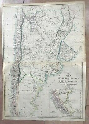 SOUTH AMERICA SOUTHERN STATES 1863 by ED WELLER LARGE DETAILED ANTIQUE MAP