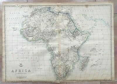 AFRICA MADAGASCAR 1863 by ED WELLER LARGE DETAILED ANTIQUE ENGRAVED MAP (65x47)