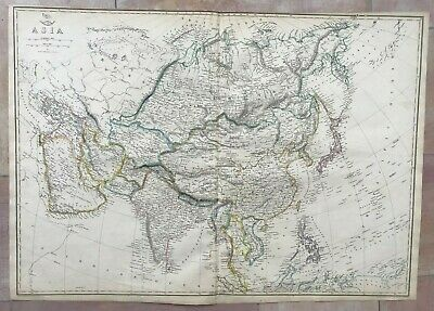 ASIA 1863 by EDWARD WELLER LARGE DETAILED ANTIQUE ENGRAVED MAP (67x47 cm)