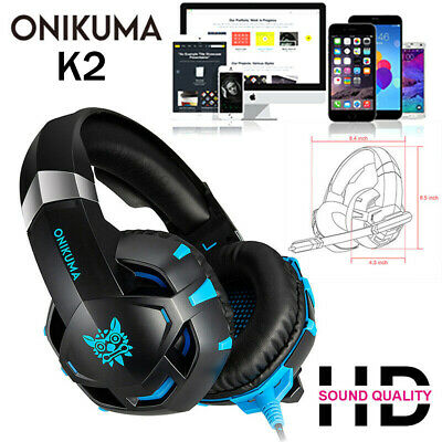 ONIKUMA K2 Gaming Headset Wired Stereo LED Game Headphone W/Mic for Computer PS4