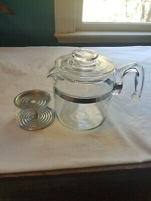 Vintage PYREX 7756-B Flame Ware Glass Coffee Pot Percolator 6 cup