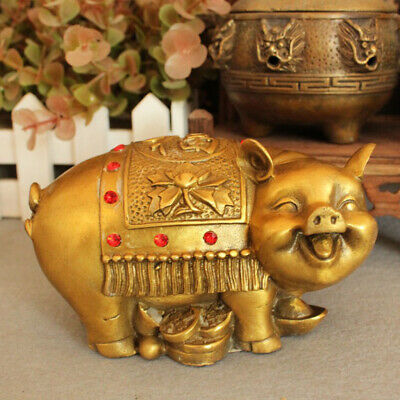 China Pig Year  Figurines Collectible Lucky Wealthy Attach Ornament