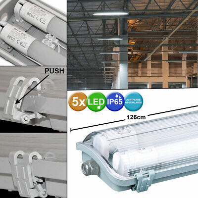 5x LED tubs lamps tubes damp room warehouse halls office ceiling lights white