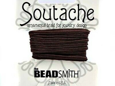 Beadsmith soutache rayon braided cord - 3mm wide - 3 yds - Dark (Beaver) Brown