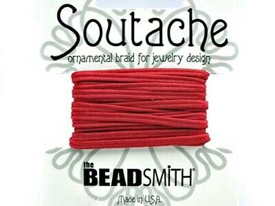Beadsmith soutache rayon braided cord - 3mm wide - 3 yds - Red