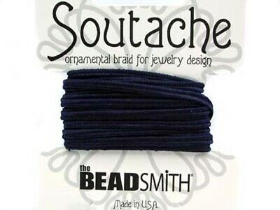 Beadsmith soutache rayon braided cord - 3mm wide - 3 yds - Navy blue