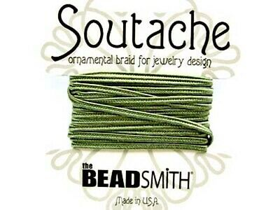Beadsmith soutache rayon braided cord - 3mm wide - 3 yds - Sage (green)