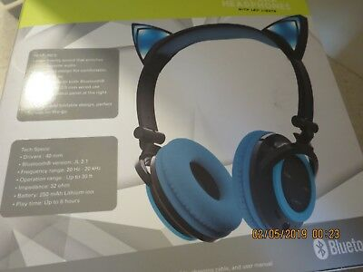 Foldable Cat Kitty Ear LED Flashing Lights Rechargeable Headphones Earphone BLUE