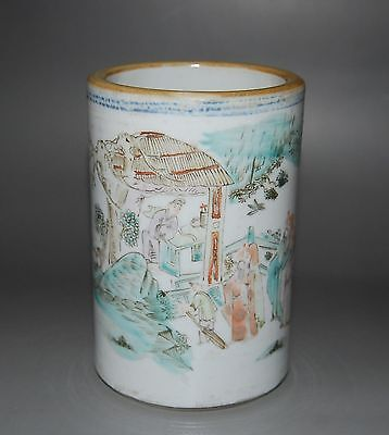 Chinese Famille Rose Porcelain Brush Pot In Cylinder Form With Person Landscape