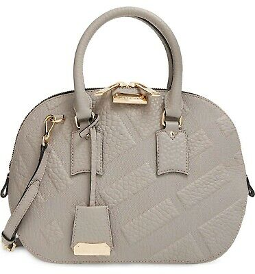 9e57489ff9fc  1495 Burberry Check Embossed Leather Small Orchard Satchel Bag Taupe Beige