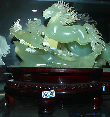 Chinese 100% Natura xiuyu Jade Hand engraving lucky succeed two horse statue 01