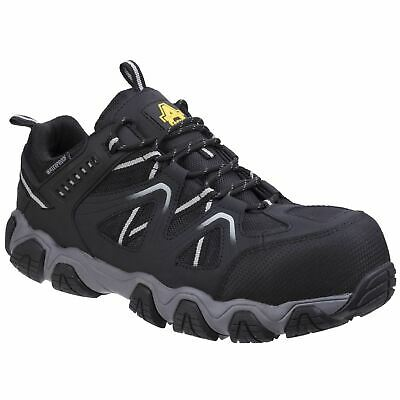 Amblers Safety AS712 Oakham Black/Grey Trainers Safety Nubuck Leather Mesh S3