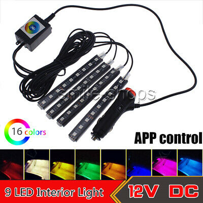 9 LED Strips 16 Colors APP Control Car Interior Floor Footwell Atmosphere Light