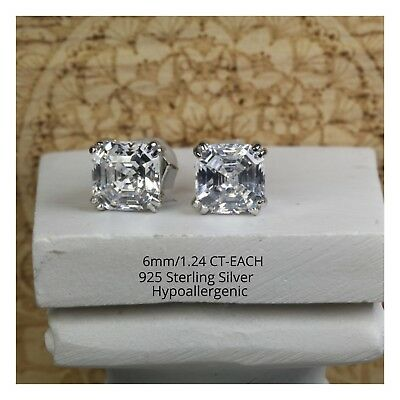 Sterling Silver 1.24Ct Asscher Princess Cut Stud Earrings AAA Quality CZ Stones